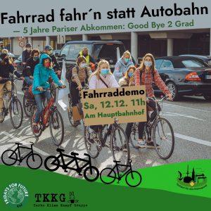 Demo-Ankündigung von Fridays For Future Kiel für den 12.12.: Fahrrad-Farhn-Statt-Autobahn - 5 Jahre Parise Abkommen: Good Bye 2°C?